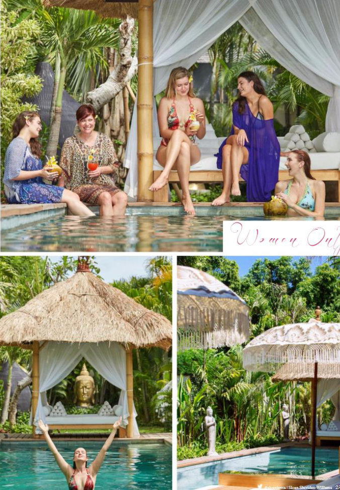 magazine clipping - women poolside at Bali retreat