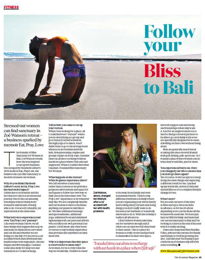 magazine clipping - woman performing yoga on Bali beach