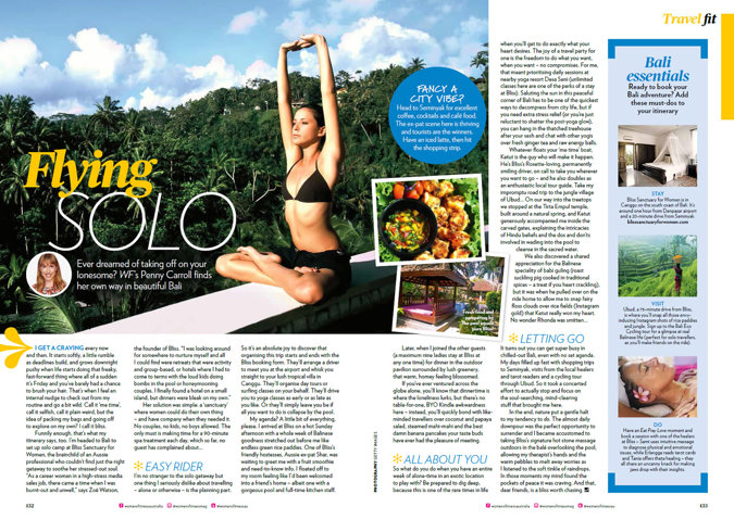 magazine clipping - woman performing yoga on a wall that overlooks a tropical forest