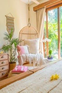 Beautiful hanging chair, how to creating wellness spaces at home