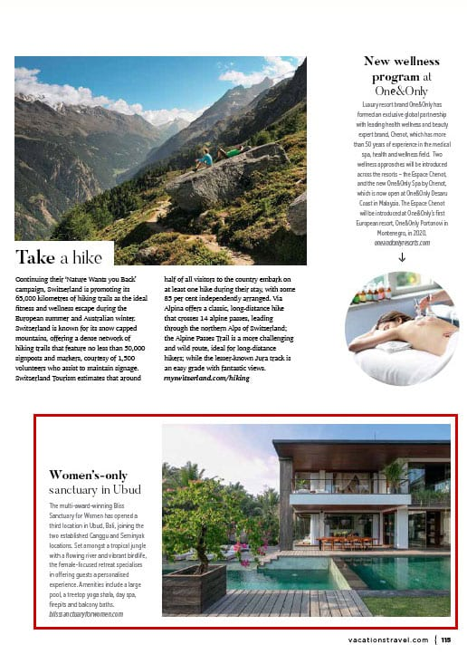 Vacations and Travel Magazine: Spa and Wellness featuring Bali's Bliss Sanctuary for Women