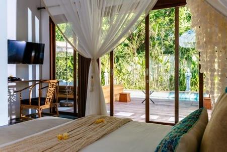 Gorgeous bedroom overlooking the pool Bali retreat