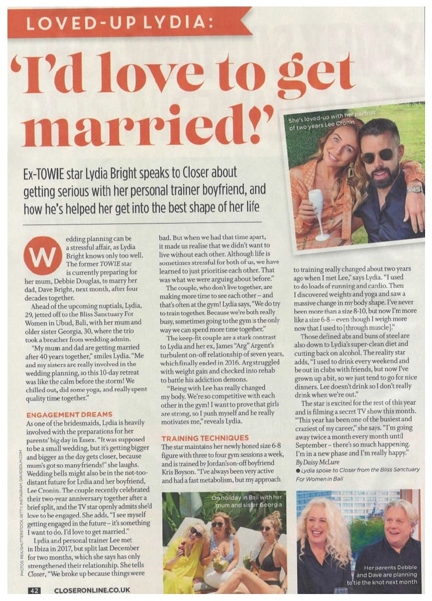 Lydia Bright spoke to Closer Magazine from her girls' trip to Bliss Bali retreat, July 2019