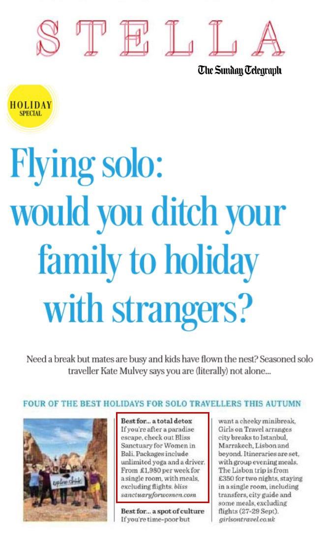 Bliss Bali retreat featured in Sunday Telegraph's Stella Magazine