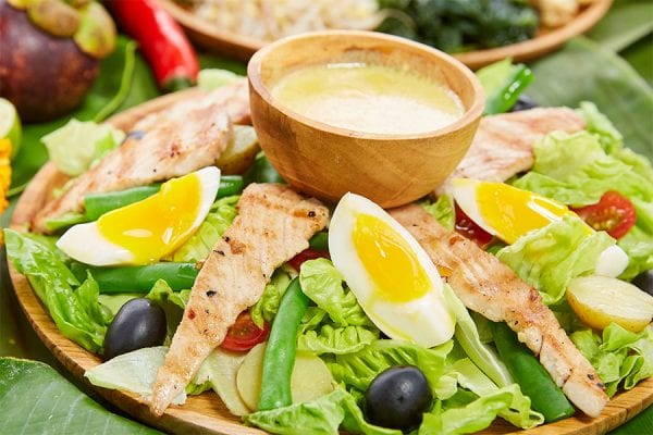 Healthy delicious food at Bali retreat, Nicoise salad