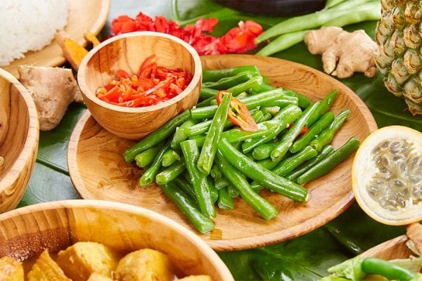 Vegan Menu, Green beans with garlic and chilli