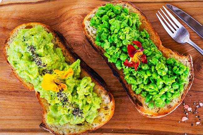 Bliss Breakfast Menu, Smashed Goodness, avocado and peas