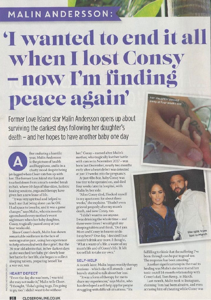 Malin Andersson visits Bliss Bali retreat in Closer Magazine July 2019