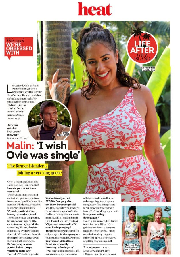 Malin Andersson visits Bliss Bali retreat in Heat Magazine August 2019
