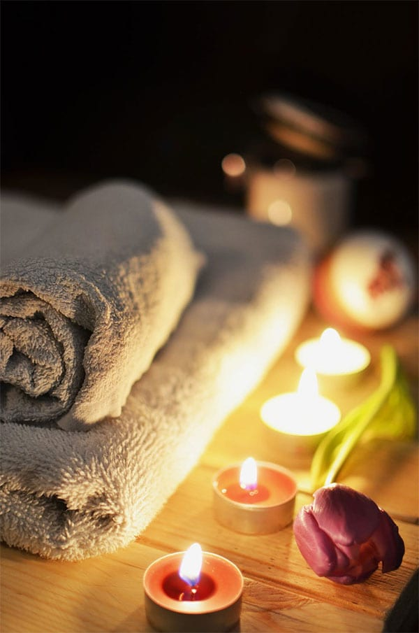 Candles in spa setting