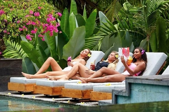 Love Island UK stars enjoy drinks by the pool Bliss Bali retreat