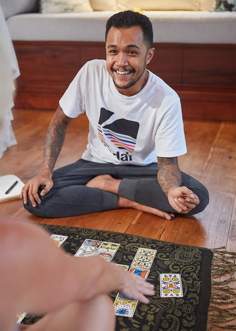 Tarot card reading with Erlangga at Bliss Bali retreat