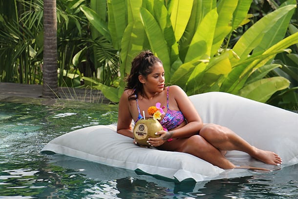Malin relaxing with coconut drink at Bliss Bali retreat