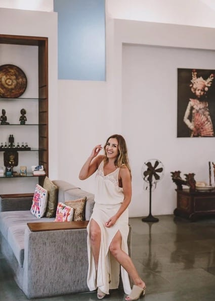 Nadia Stamp relaxing indoors at Bliss Bali luxury retreat