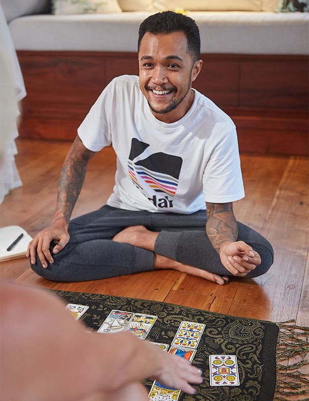 Erlangga, tarot card reader at Bliss Bali retreat