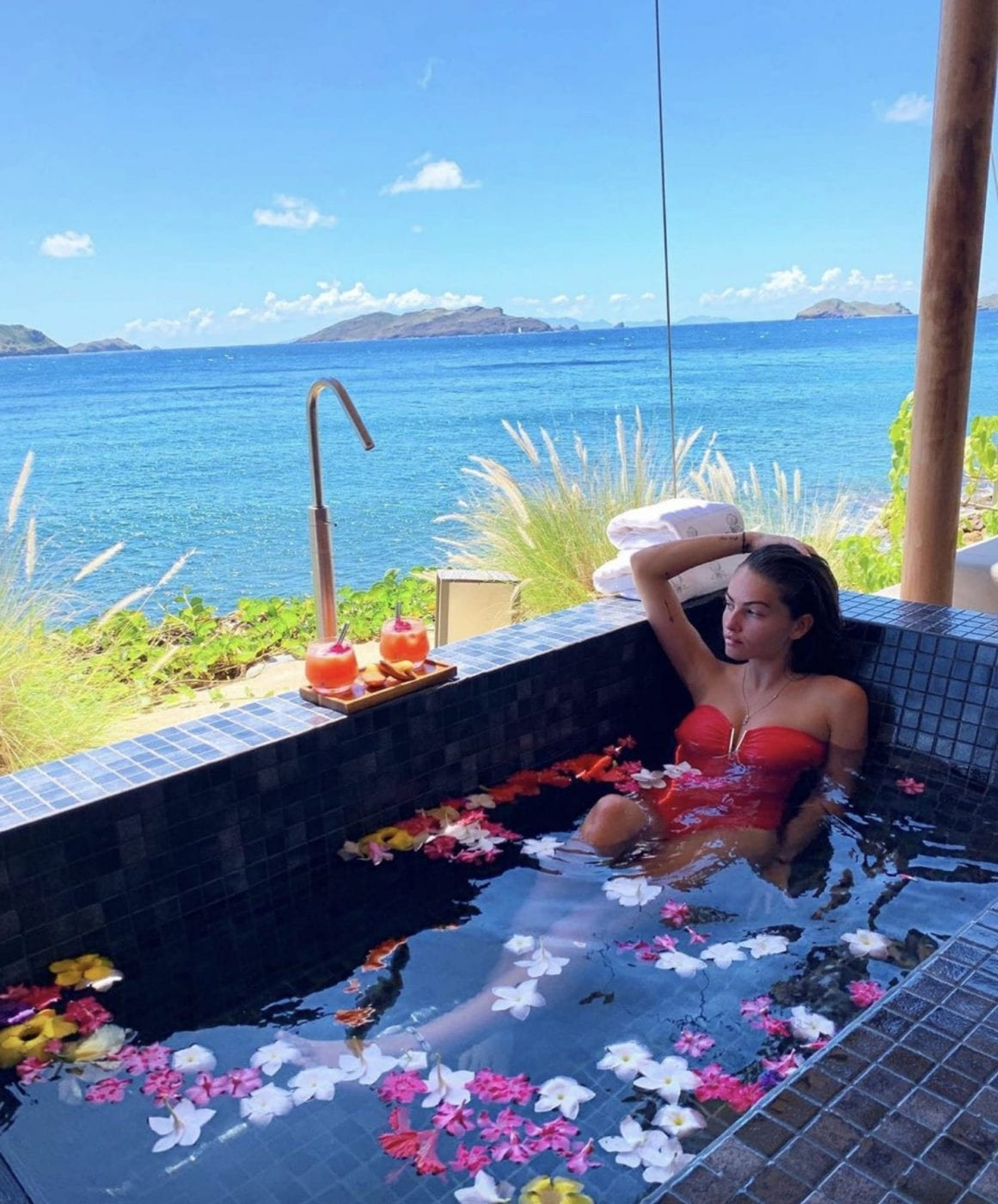 Thylane Blondeau enjoyed a bath with a view. Credit: Instagram