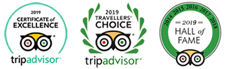 Trip Advisor 2019 Certificate of Excellence, Travellers' Choice, Hall of Fame