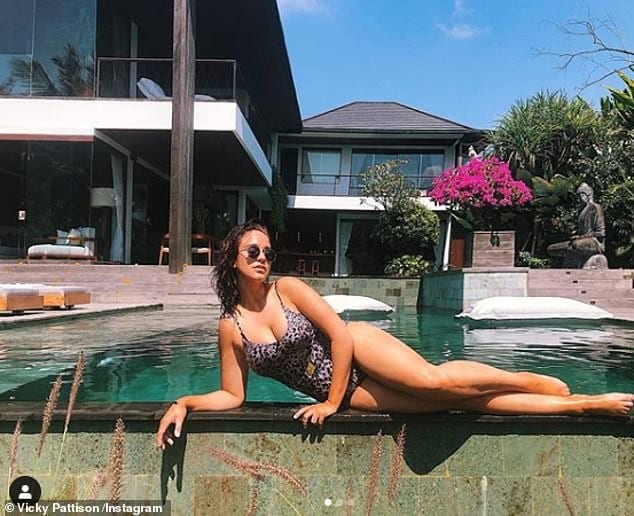 Oops: Vicky Pattison joked she fell into the water three times in a bid to take the 'perfect poolside snap' in Bali, sharing the visual evidence of her efforts on Instagram on Thursday