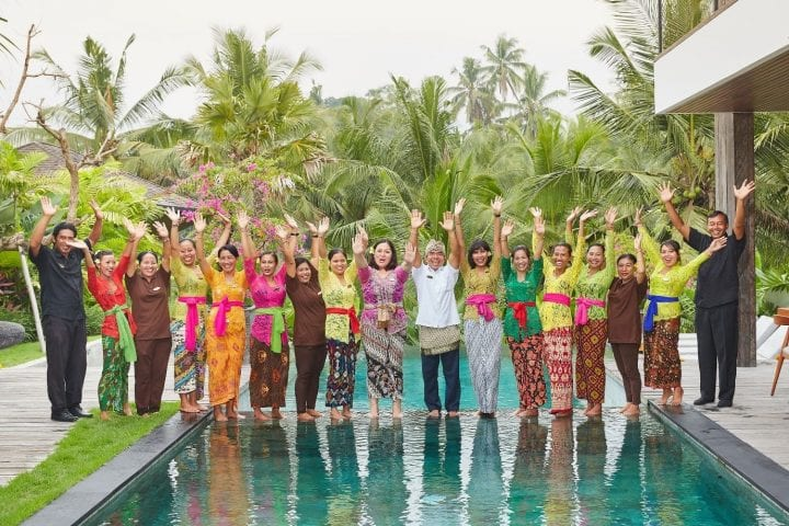 Bliss team by the pool Ubud Bliss Bali retreat