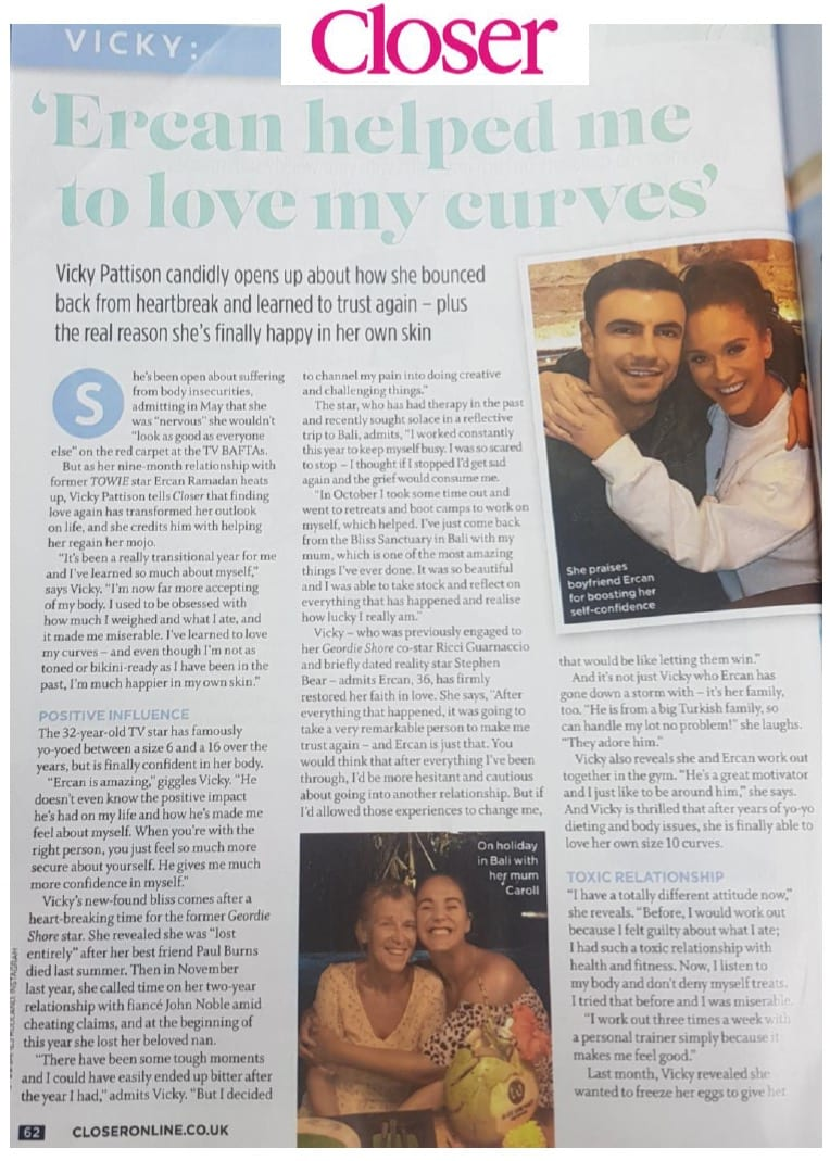 Vicky Pattison visit to Bliss, Closer magazine