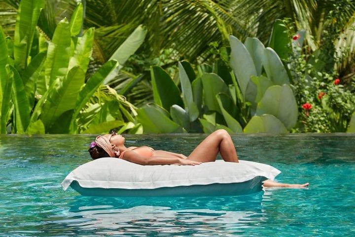Love Island Star relaxing in pool Bliss Bali retreat Ubud