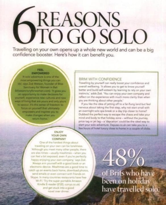 Top Sante UK magazine features Bliss Bali retreat, 6 reasons to go solo