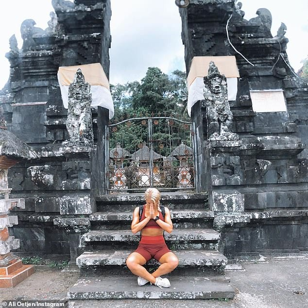 Ali Oetjen 2018 Bachelorette visiting temple in Bali while staying at Bliss Sanctuary for Women Bali retreat