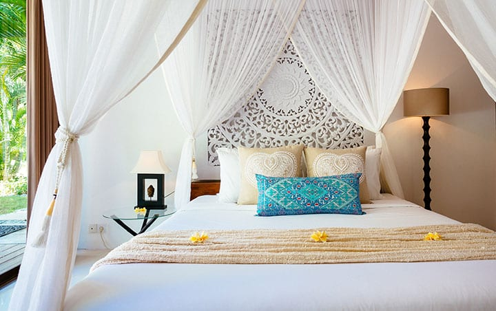 Bliss Bali retreat king size bed in luxurious Pool Room