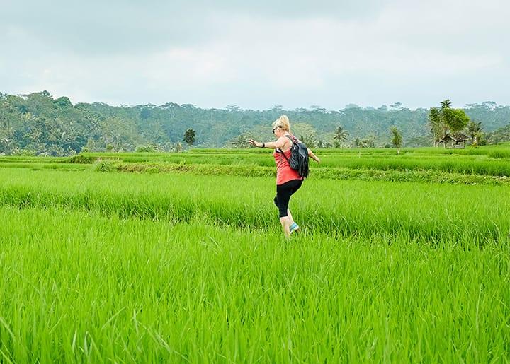 Bliss Bali retreat guest running enjoying nature
