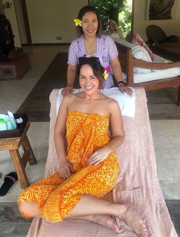 Hayley Sparkes pampered at Bliss Bali retreat