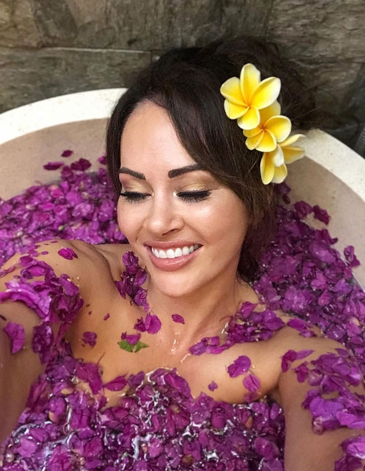 Hayley Sparkes wellness flower bath Bliss Bali retreat