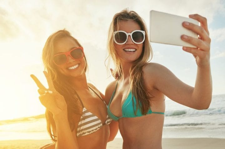 Strike a pose girls taking selfie at the beach - Bliss Sanctuary for Women in world's top best hotels for women
