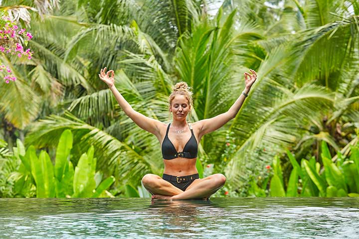 TOWIE Lydia Bright, poolside at Bliss Sanctuary for Women