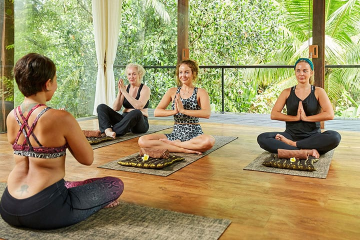 TOWIE Lydia Bright, yoga with mum and sister at Bliss Sanctuary for Women, Easy Pose