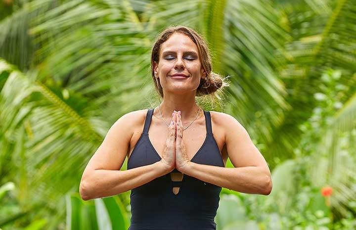 Be thankful, woman meditating