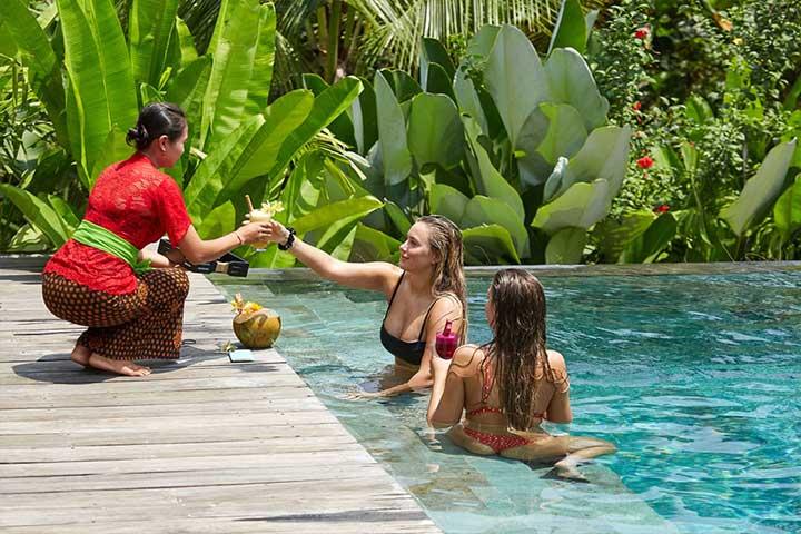 Love Island girls in pool at Bliss Retreat Bali
