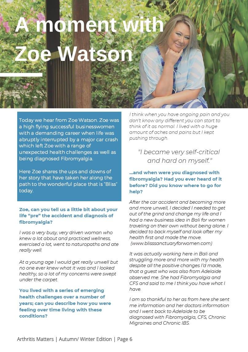 Zoe Watson fibromyalgia interview Arthritis Matters magazine