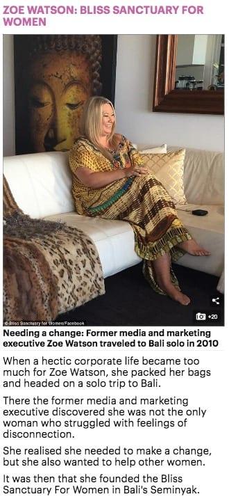 Aussie entrepreneurs, Zoe Watson, Bliss Bali retreat, Daily Mail online