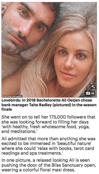 Bachelorette Ali Oetjen at Bliss Bali retreat, Daily Mail Australia