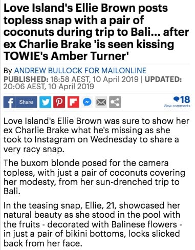Love Island Ellie Brown at Bliss Bali retreat, Daily Mail