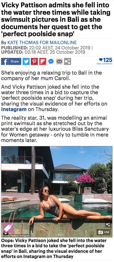 Geordie Shore Vicky Pattison at Bliss Bali retreat, Daily Mail