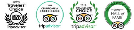 Trip Advisor 2020 Certificate of Excellence, Travellers' Choice, Hall of Fame