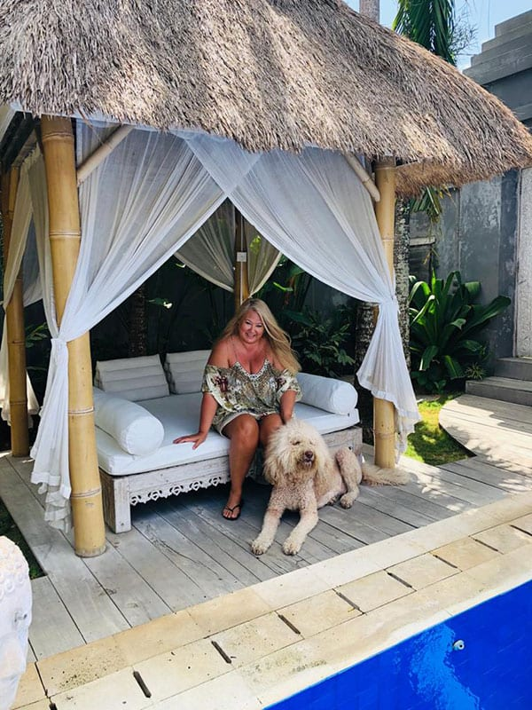 Zoe Watson Bliss Bali retreat founder by the pool