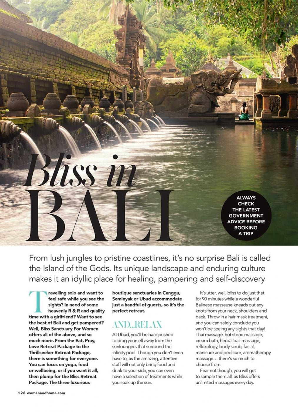 Bliss Sanctuary for Women featured in Woman & Home Magazine